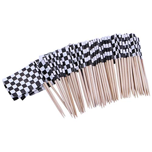 ULTNICE Pack von 100 Racing Flag Picks Flags Toothpicks Obst Appetizer Sticks für Cocktailparty - schwarz und weiß