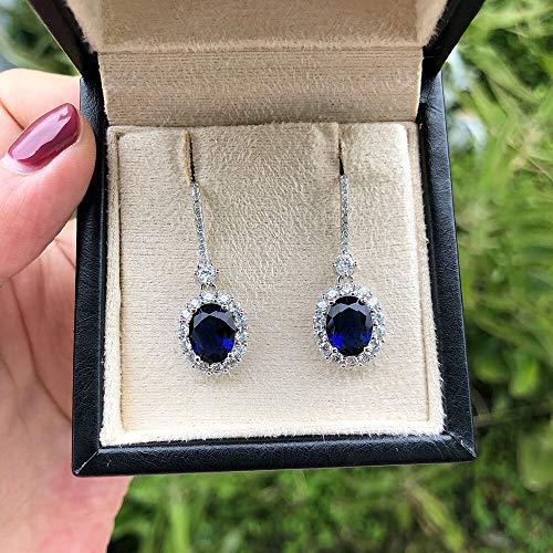 GBKIGCD Pendientes de gota de gemstone de rubí de lujo para mujeres Vintage Femenino 925 plata de ley joyería pendiente moda simple (Gem Color: Azul)