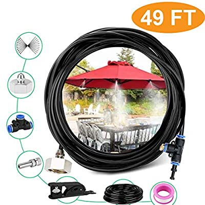 Risunpet Outdoor Misting Cooling System 49.2FT(15M) Misting Line 21 Copper Mist Nozzles and A Connector(3/4) for Patio Misting System Fan Outdoor Mist Kit Canopy Misting System Trampoline