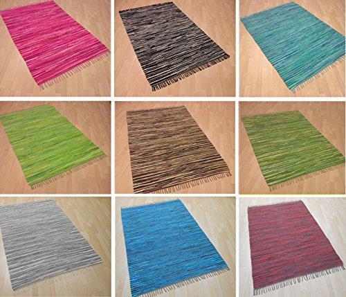 MB Warenhandel24 Handwebteppich Fleckerlteppich Flickenteppich gestreift 100% Baumwolle Handweb Teppich Fleckerl Waschbar NEU (Schoko gestreift, ca. 50x100 cm)