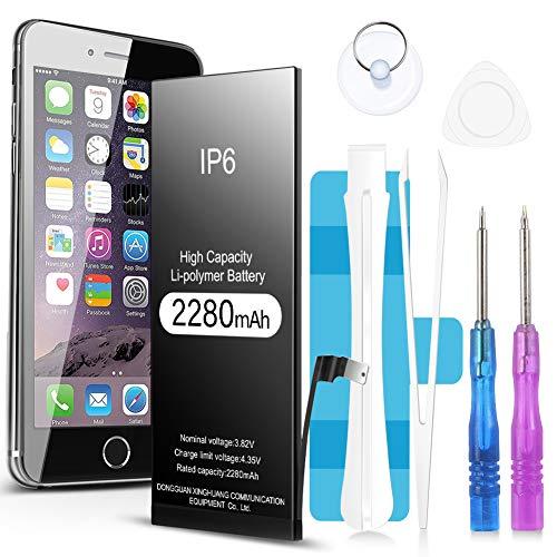 Jojobnj Batería de 2280 mAh para iPhone 6,Batería Recargable de Polímero de Litio de Alta Capacidad con El Kit Completo de Herramientas para La Reparación Adhesivo e Instrucciones-Garantía de 24 Meses