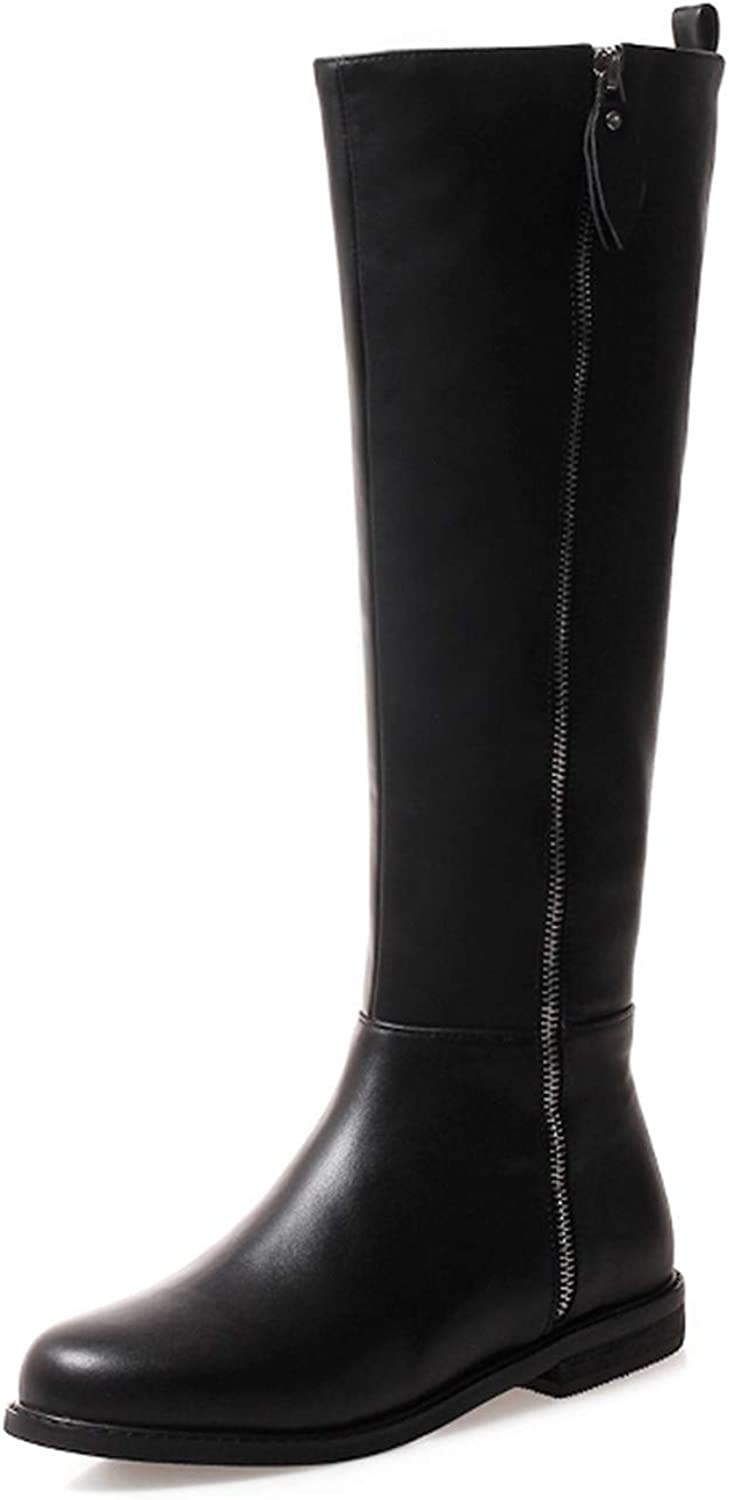 Low Thick Heels Women Knee High Boots Round Toe Zip Footwear Cow Leather Female Boot Riding shoes Woman New Winter New