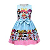 Bollax Little Girls Princess Dress Sleeveless Print Pageant Pleated Dress for Doll Surprised Birthday Gown Dress (Blue, 7-8 Years)