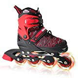 Nattork Red Adjustable Inline Skates for Kids with Full Light up Wheels,Fun Illuminating Roller Skates for Boys and Girls,Youth and Beginners