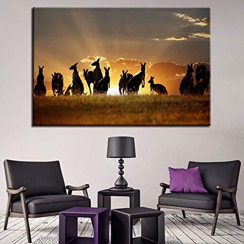 Lunderliny 1 Stück Golden Sunset Kangaroos Tiere Wandkunst Bilder Für Wohnzimmer Modern Home Decor Poster Hd Leinwand Malerei 60x90cm