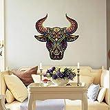 Vinilos Decorativos,Vinilo Pared,Patrón De Color Dominante Bull Head Etiqueta De La Pared Dormitorio Decoración Etiqueta Autoadhesiva Pvc Extraíble Etiqueta De La Pared
