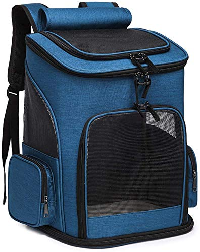 CWCD Pet Carrier Backpack Dog Cat Puppy Carrier Bag Back Should Bag Ventilated Design and Safety Features for Travel Hiking Outdoor Use,Airline Approved Blue Camping Hiking