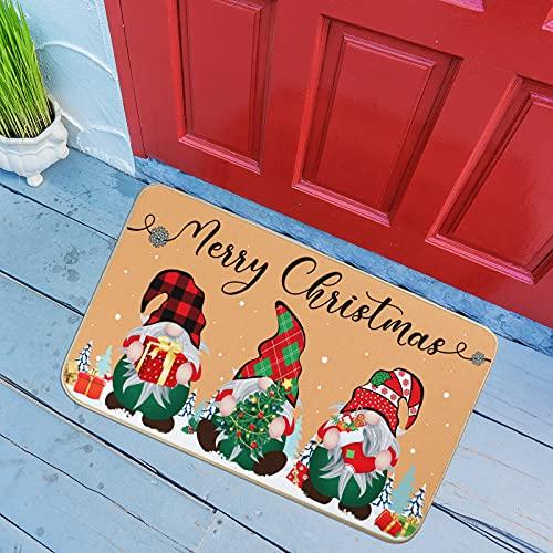 Felpudo de Gnomo de Merry Christmas Alfombras de Piso Bienvenida de Navidad para Puerta Principal Decoración de Entrada Casa de Invierno de Respaldo de Goma Antideslizante, 30 x 17 Pulgadas