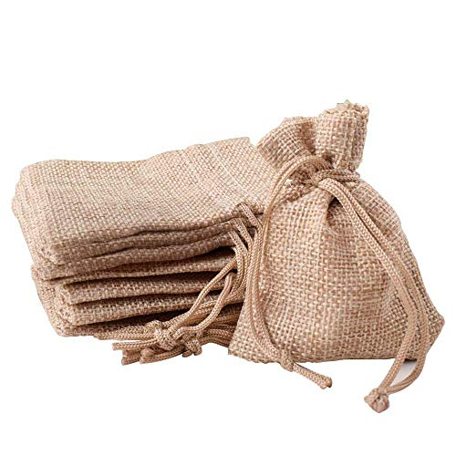 Gudotra Acerca de 50pcs Bolsa de Lino con Cordón para Joyería Regalos Arroz Boda Navidad Bolsitas de Tela Saco (50pcs Amarillo)