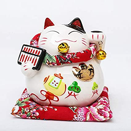 7.87 World-Accents White Cat Wearing Sunglasses Ceramic Coin Bank