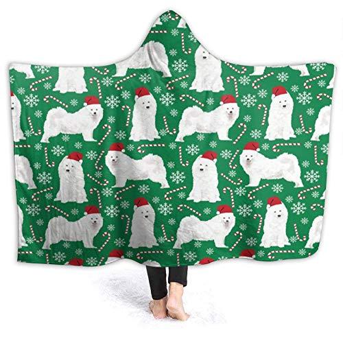 ZHENGYUAN Samoyeds - Manta con capucha para perro, diseño de perro de Navidad
