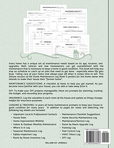 Deluxe Home Maintenance Log Book: Organize, Schedule, Journal, Planner for Home Maintenance, Repairs and Upgrades | 12 Years of Record Keeping, ... Monthly | DIY Projects Inventory Forever Home