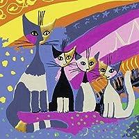 大人と子供のための数字によるDIYペイント初心者のためのキャンバス油絵キットホームのための芸術と工芸品抽象的な4匹の猫40x50cmフレームレス