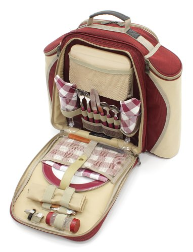 The Greenfield Collection BPD2RDH Deluxe Zwei Personen Picknick Rucksack, weinrot