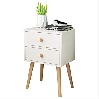 Hohaski North American Modern Minimalist Bedside, Locker Double Drawer Nightstand Cabinet Storage Solid Wood Legs 11.8×15.7×23inch (Ship from US!!!) (White)