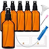 6 botellas de 100 ml con pulverizador, pequeñas botellas de cristal marrón, incluye 16 accesorios