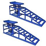 LARS360 Set de 2 Rampas para Coches Rampas para Vehículos Rampa Rampas de elevación para Mantenimiento de Coche, Capacidad de Carga 2T, Color Azul, 114 x 34 x 27 cm