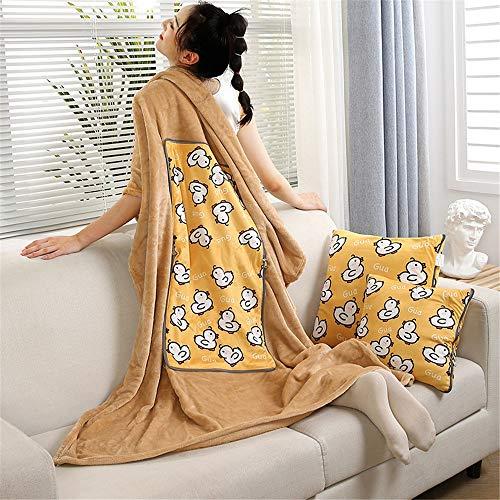 Edredón de almohada de doble propósito Cojín de terciopelo con terciopelo plegable Manta de almohada de doble uso de dibujos animados Fleece multifuncional almohada de almohada de ocio Almohadas de vi