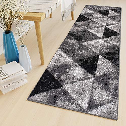 Tapiso Luxury Teppich Läufer Flur Meterware Korridor Küche Flur Kurzflor Modern Geometrisch Dreiecke Design Schwarz Grau Creme ÖKOTEX 80 x 200 cm