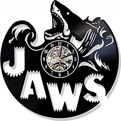Reloj de pared de vinilo con diseño exclusivo de Steven Spielberg para niños o hombres, decoración para salón, club de Shark con LED