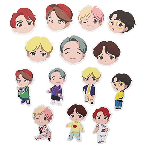 ALTcompluser Kpop BTS Bangtan Boys Stickers Wasserdicht Aufkleber Vinyl Aufkleber für Laptop, Macbook, Gepäck, Skateboard (14 Stk - B)