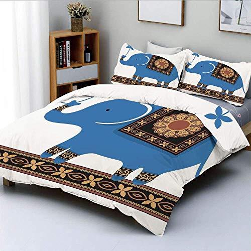 Juego de funda nórdica, lindo elefante de circo, adorno de medallones de flores indias, ilustración de dibujos animados, juego de cama decorativo de 3 piezas con 2 fundas de almohada, azul arena marró
