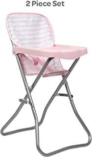 Adora Baby Doll Accessories Pink High Chair, Can Fit Up to 16 inch Dolls, 20.5 inches in Height, Baby Pink and Grey Print