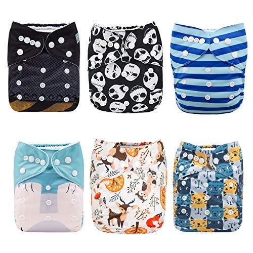 Alva Baby - Pañales de tela reutilizables (6 unidades), lavables, 6 unidades de pañales + 12 paños interiores Boy Color 6DM43 Talla:All in one