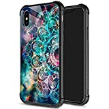 ZHEGAILIAN iPhone Xs Case, Nebulae Mandala iPhone X Cases for Girls, 9H Tempered Glass Back+Soft Silicone TPU Shock Protective Case for Apple iPhone X/Xs