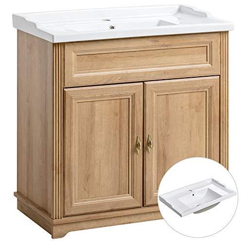 Lomadox Badmöbel Einzel Waschtisch mit Unterschrank 80cm mit Keramik-Waschbecken, Vintage Landhausstil, Eiche Nachbildung