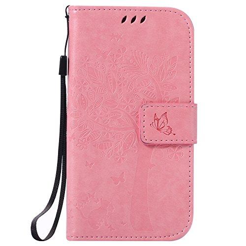 Karomenic kompatibel mit Samsung Galaxy S4 PU Leder Hülle Katze Baum Prägung Handyhülle Brieftasche Silikon Schutzhülle Klapphülle Ledertasche Ständer Wallet Flip Case Schale Etui,Rosa