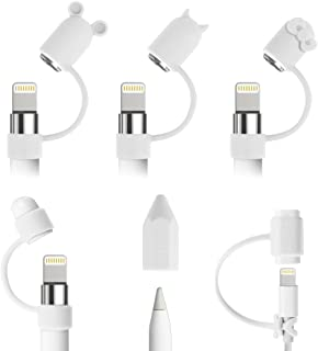 Fintie Bundle for Apple Pencil Cap Holder, Nib Cover, Charging Cable Adapter Tether for Apple Pencil 1st Gen, iPad 6th Gen Pencil, White