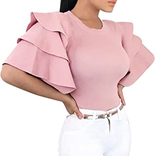 Women's Casual Solid Layered Flare Sleeved O-Neck Evening T-Shirt Top Blouse