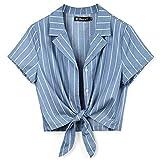 Allegra K Women's Striped Button Up Short Sleeve Tie Front Crop Shirt Large Blue