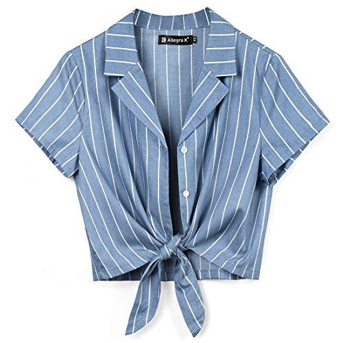 Allegra K Women's Chambray Crop Shirts Summer Short Sleeve Tie Front Striped Tops L Blue