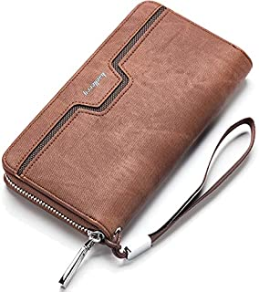 Baellerry Men Wallets High Capacity Multi Credit Card Holder Mobile Phone Purse Long Zipper Clutch Wallet For Men (Brown)