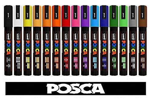 POSCA Uni-Ball marqueur Uni PC-5M Tempera 15 Couleurs Assorties Professional Set.