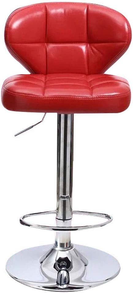 Hongyan Modern Bar Stools Leatherette Exterior Adjustable Swivel Gas Lift Chrome Footrest and Base for Breakfast Bar Counter Kitchen and Home Barstools (Color : Red, Size : 60-80cm)
