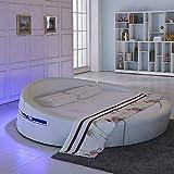 LKU Bed Smart Bed Frame Set de muebles de dormitorio iluminados cama redonda de cuero luminoso