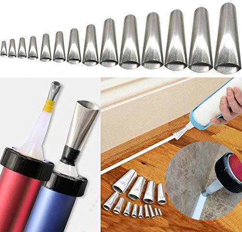 Caulking Finisher, 14PCS Caulk Nozzle Applicator, Stainless Steel Sealant Finishing Tool Kit for Kitchen, Bathroom, Window