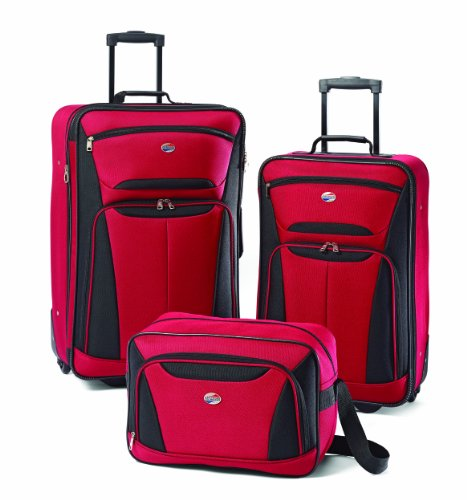Here's a real bargain. Not truly a  three piece luggage set (the third item is a boarding bag) but a great all round product