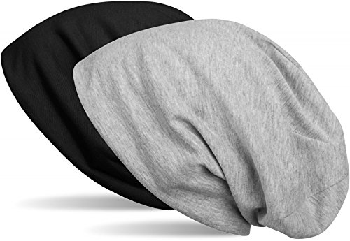 styleBREAKER Beanie Wendemütze in Unifarben, Slouch Mütze, leicht und weich, Longbeanie, Unisex 04024115, Farbe:Schwarz/Grau meliert
