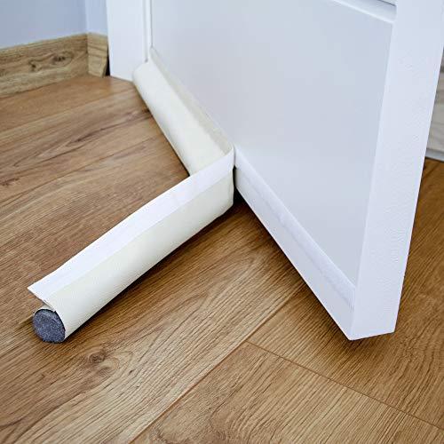 Bazerga - Burlete para puerta (90 cm, antifrío, bajo de puerta, unilateral, con junta autoadhesiva, protección contra las corrientes de aire y el ruido), color blanco