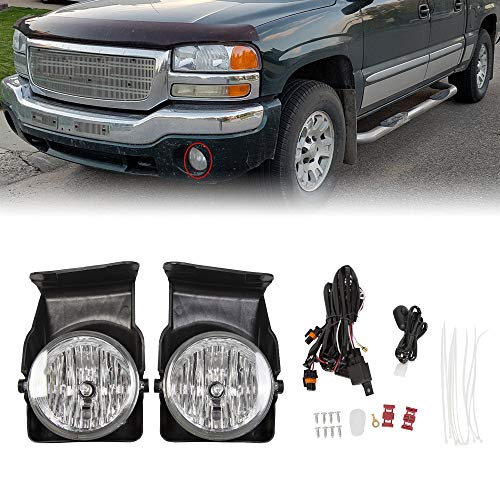 Bumper Driving Fog Lights Lamps Driver Side and Passenger Sidewith Switch/Bulbs For 2003 2004 2005 2006 GMC Sierra Pickup Truck