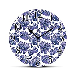 BCWAYGOD Traditional Silent Wall Clock Watercolor Chinese Ethnic Lotus Purple Mallow Flowers Chakra Pattern Desk Clock Round Unique Decorative for Home Bedroom Office 10in