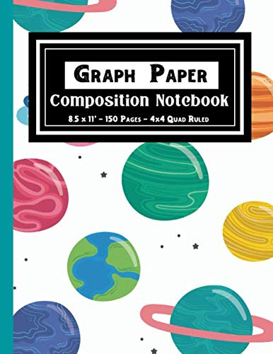 "Graph Paper Composition Notebook: Blank 4x4 Quad Ruled Four Square Per Inch/.25"" x .25"" Quadrille Paper For Maths and Science(Galaxy & Planet Pattern Cover)"