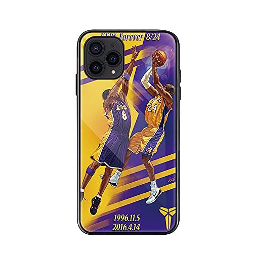 Funda para iPhone 11/11 Pro Atleta de Baloncesto Kobe Teléfono Cubierta Prueba de Golpes Anti-Rasguños 9H Vidrio Templado Dura Todo Cover Todo Incluido Silicona Borde HD Delg(Size:iP11ProMax,Color:F)