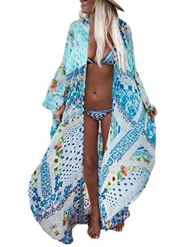 Bsubseach Womens Multicolor Print Long Chiffon Beach Blouses Cardigan Kimono Bikini Cover Up Swimwear Kaftan