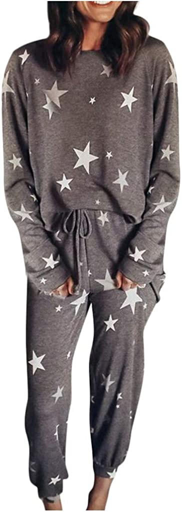 Hessimy Womens Pajamas Set,Womens Printed Casual Long Sleeve Tops and Long Pants Joggers Sleepwear Nightwear Soft Pajamas Set