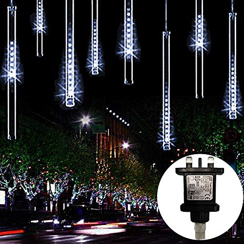 LED Meteor Shower Rain Lights Masqudo 30cm 10 Tubes Falling Rain Drop Christmas Lights Cascading Icicle String Light for Holiday Party Wedding Christmas Tree Decoration (White)